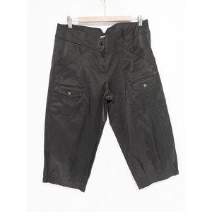 Cache Women's Cropped Black Satin Cargo Pants